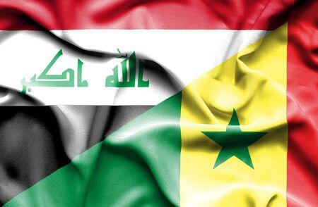 iraq conflict: Waving flag of Senegal and Iraq