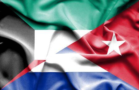 immigrant: Waving flag of Cuba and Kuwait