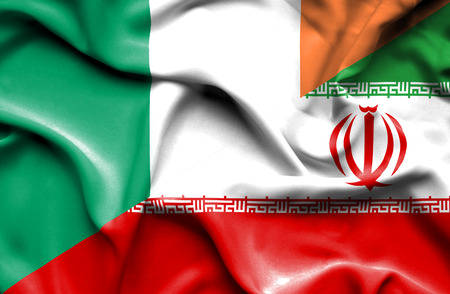 ireland flag: Waving flag of Iran and Ireland Stock Photo