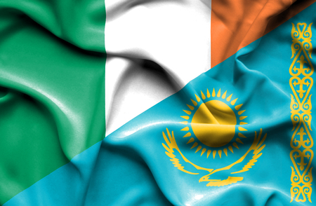 ireland flag: Waving flag of Kazakhstan and Ireland