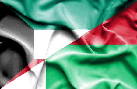 madagascar: Waving flag of Madagascar and Kuwait