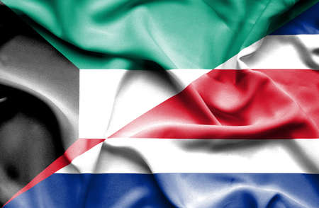 costa rican flag: Waving flag of Costa Rica and Kuwait Stock Photo