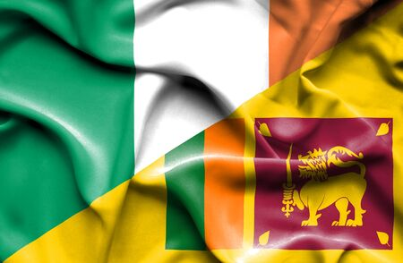 sri: Waving flag of Sri Lanka and Ireland