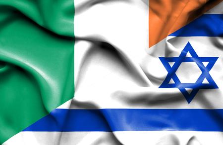 ireland flag: Waving flag of Israel and Ireland Stock Photo