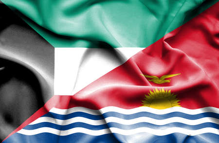 kiribati: Waving flag of Kiribati and Kuwait
