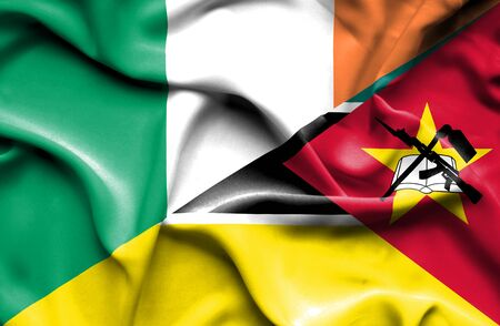 mozambique: Waving flag of Mozambique and Ireland