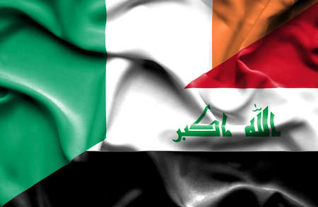 iraq money: Waving flag of Iraq and Ireland