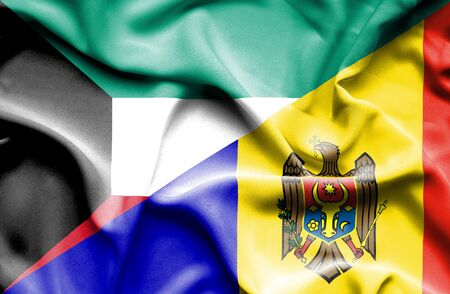 moldavia: Waving flag of Moldavia and Kuwait Stock Photo