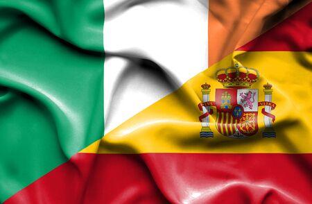 ireland flag: Waving flag of Spain and Ireland