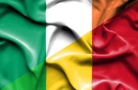 ireland flag: Waving flag of Mali and Ireland