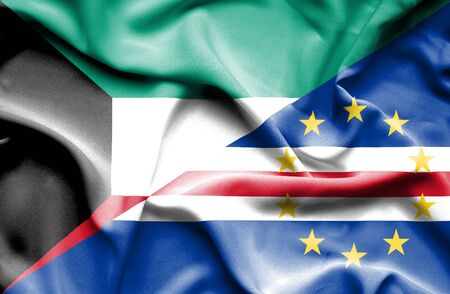 cape verde: Waving flag of Cape Verde and Kuwait