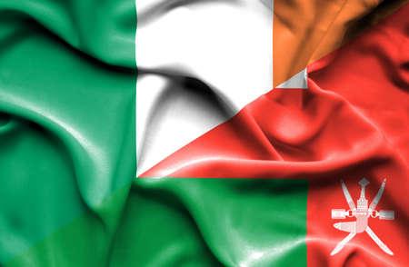 ireland flag: Waving flag of Oman and Ireland
