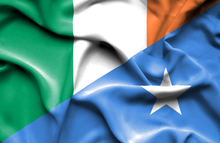 somalian culture: Waving flag of Somalia and Ireland Stock Photo