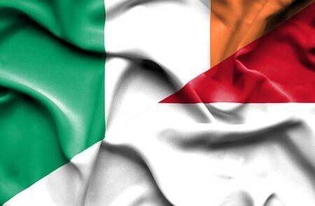 ireland flag: Waving flag of Monaco and Ireland