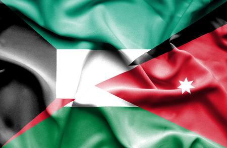jordan: Waving flag of Jordan and Kuwait