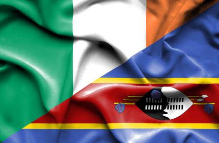 ireland flag: Waving flag of Swazliand and Ireland