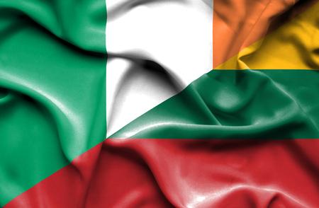 ireland flag: Waving flag of Lithuania and Ireland