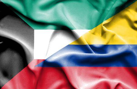 columbia: Waving flag of Columbia and Kuwait