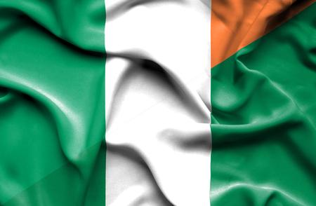 ireland flag: Waving flag of Nigeria and Ireland Stock Photo