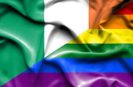 irish pride: Waving flag of Pride and Ireland