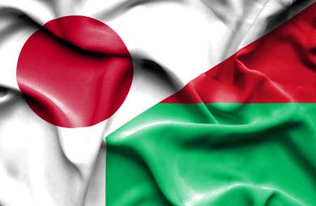 madagascar: Waving flag of Madagascar and Stock Photo