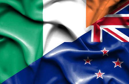ireland flag: Waving flag of New Zealand and Ireland Stock Photo