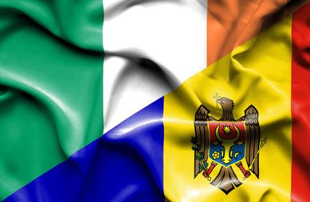 ireland flag: Waving flag of Moldavia and Ireland