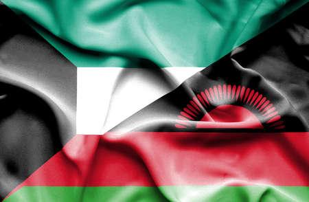 malawian flag: Waving flag of Malawi and Kuwait Stock Photo