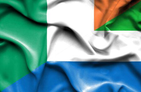 irish history: Waving flag of Sierra Leone and Ireland