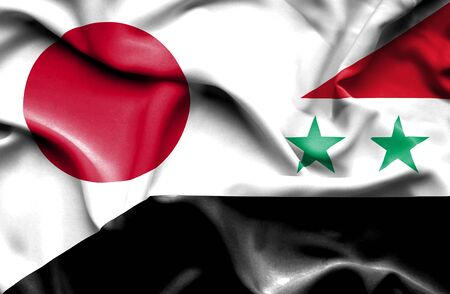 syria peace: Waving flag of Syria and Stock Photo