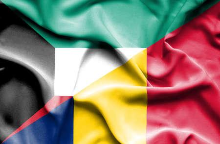 chad: Waving flag of Chad and Kuwait