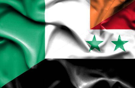 syria peace: Waving flag of Syria and Ireland