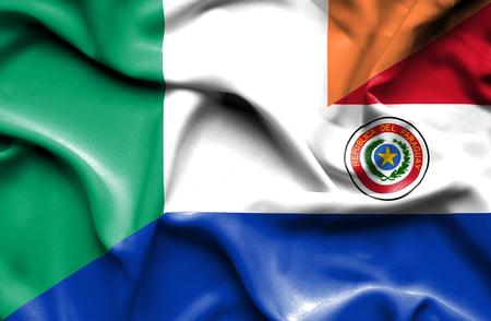 ireland flag: Waving flag of Paraguay and Ireland Stock Photo