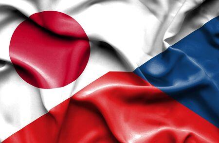 the czech republic: Waving flag of Czech Republic and Stock Photo