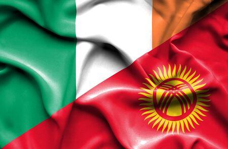 ireland flag: Waving flag of Kyrgyzstan and Ireland Stock Photo