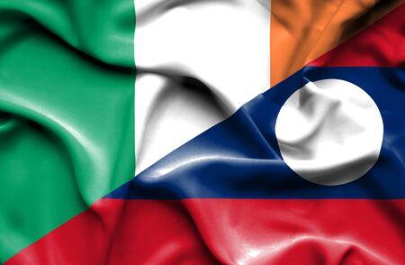 irish history: Waving flag of Laos and Ireland