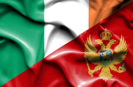 montenegro: Waving flag of Montenegro and Ireland