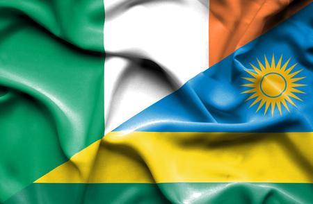 irish history: Waving flag of Rwanda and Ireland