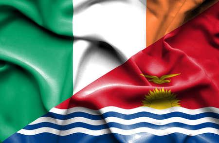 ireland flag: Waving flag of Kiribati and Ireland