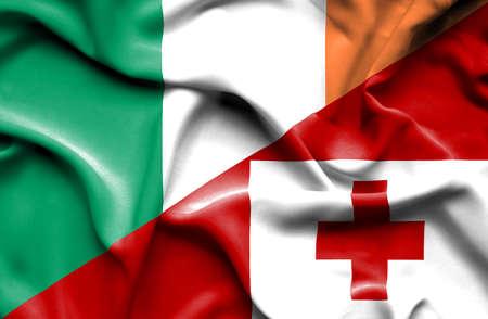tonga: Waving flag of Tonga and Ireland