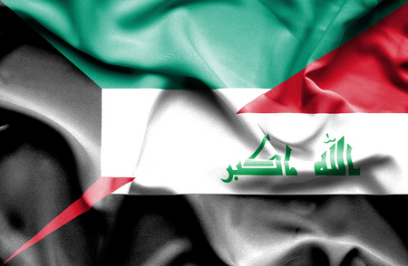 iraq conflict: Waving flag of Iraq and Kuwait Stock Photo