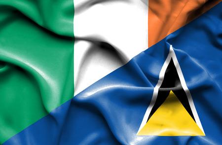 ireland flag: Waving flag of St Lucia and Ireland