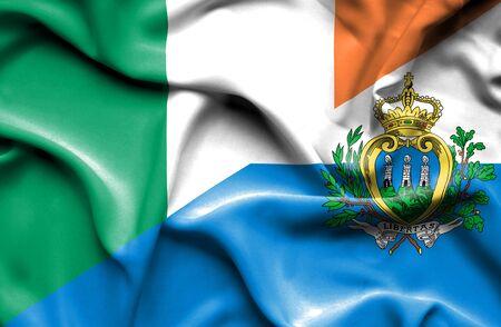 marino: Waving flag of San Marino and Ireland