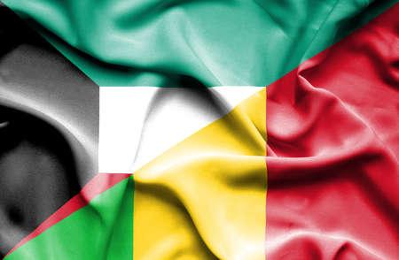 immigrant: Waving flag of Mali and Kuwait
