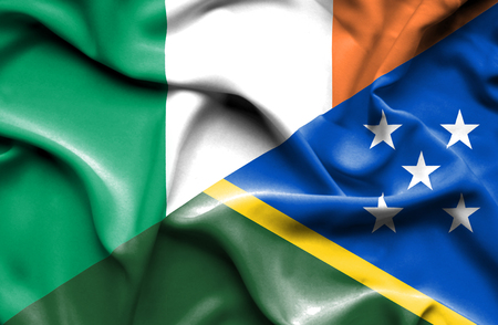 solomon: Waving flag of Solomon Islands and Ireland