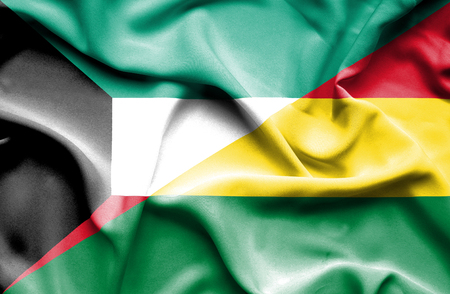 bolivia: Waving flag of Bolivia and Kuwait