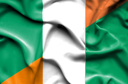 ivory: Waving flag of Ivory Coast and Ireland