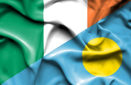 palau: Waving flag of Palau and Ireland Stock Photo