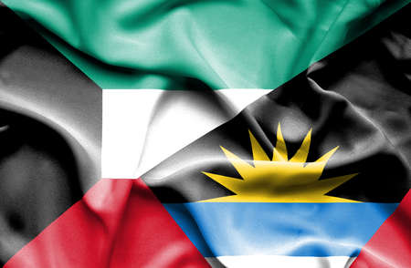 antigua: Waving flag of Antigua and Barbuda and Kuwait