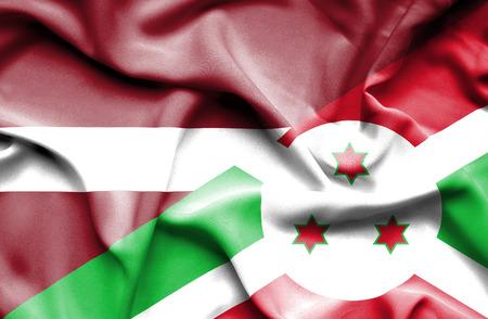 burundi: Waving flag of Burundi and Latvia